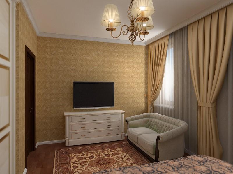 Интерьер совмещенной гостиной и кухни в коттедже 136
